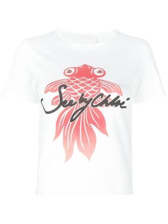 t-shirt shirt printed t-shirt women white cotton top