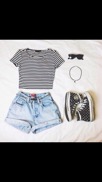 shirt stripes shorts denim summer shoes sunglasses jewels