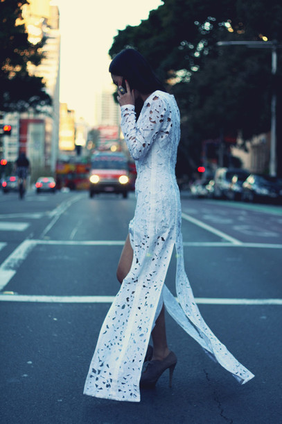 white cut-out maxi dress slits slit crochet long sleeves long sleeve dress white dress white maxi dress dress