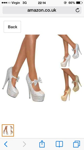 shoes mary jane court shoes silver heels bow heels ankle strap heels