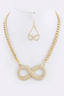Textured Infinity Pendant Necklace Set