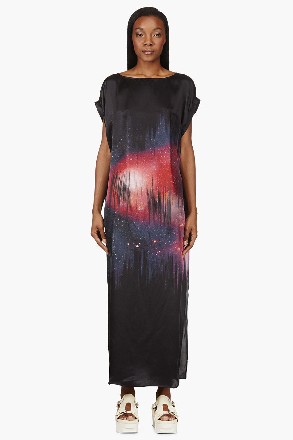 Avelon black and pink silk cosmic glint dress