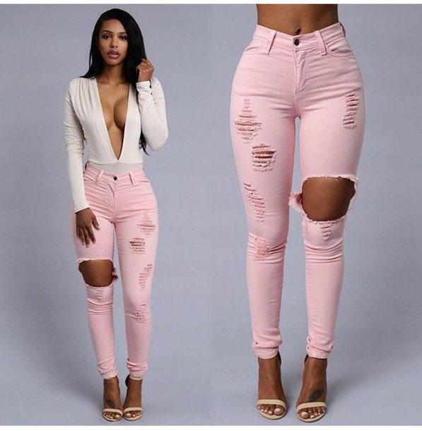 Blouse: pink, white, low cut, ripped, jeans, cute, heels, black ...