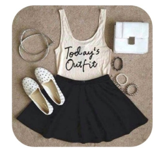 tank top skirt black skater skirt shoes leather skirt brown slippers gold braclet clutch spiked shoes spiked braclet suede flats singlet