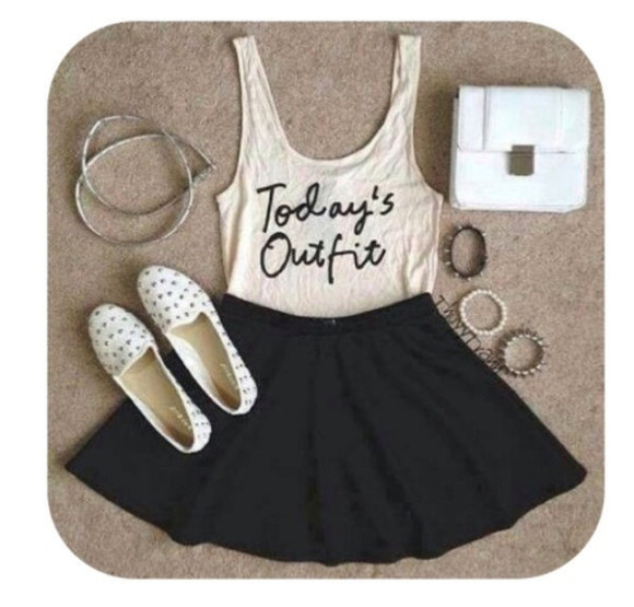 skirt black skater skirt shoes tank top brown slippers, cute, suede flats, white lace, singlet gold braclet clutch black leather skirt spiked shoes spiked braclet