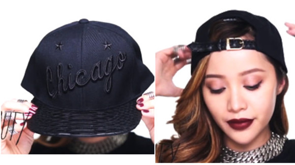 hat black cap leather chicago michelle phan gold braid