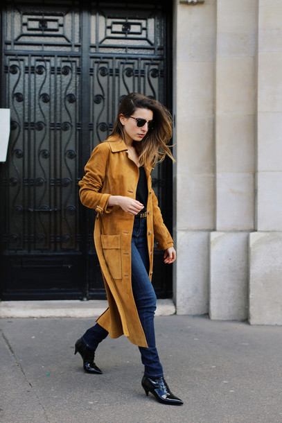 sarah co mode ton look blogger jeans suede long coat pointed toe coat top belt shoes camel long coat