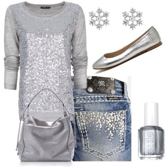 sweater grey silver sequins jeans silver sequins on back pockets grey sequin sweater