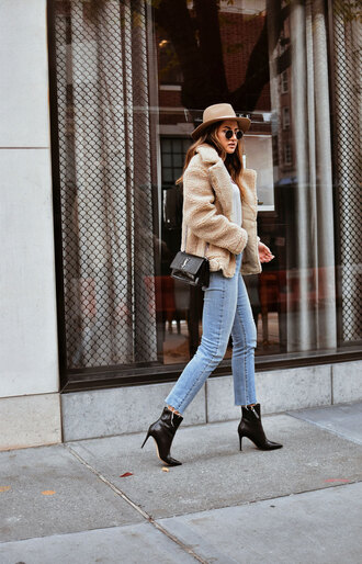 fashionismyforte blogger coat shoes jeans t-shirt bag sunglasses teddy bear coat fall outfits ysl bag ankle boots