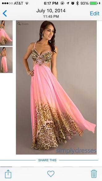 dress pink dress animal print prom dress