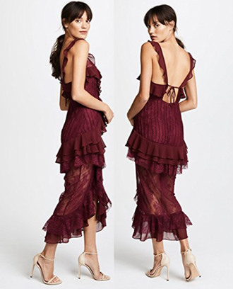 dress maxi dress lace ruffle for love and lemons burgandy prom dress burgundy dress elegant dress datenight dress classy dress layered dress
