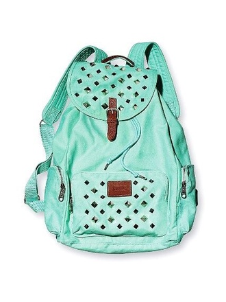 bag light blue studded pink backpack