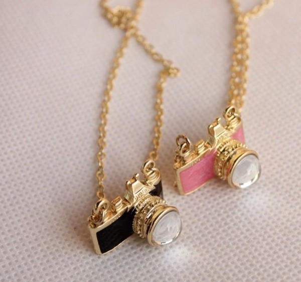 jewels necklace cute accessories pink and black camera necklace
