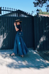 hallie daily,blogger,skirt,top,bag,shoes,hat,belt,jewels,sunglasses,pleated skirt,gucci bag,gucci,mid heel pumps,blue skirt,french girl style
