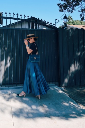 hallie daily blogger skirt top bag shoes hat belt jewels sunglasses pleated skirt gucci bag gucci mid heel pumps blue skirt french girl style