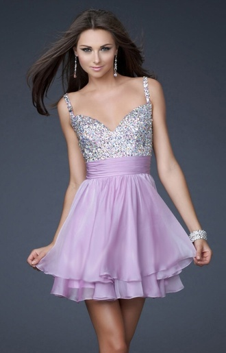 dress cute dress diamonds girly purple dress lilac dress formal event outfit short prom dress