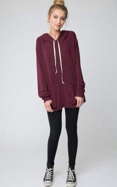 jacket sweater hoodie pullover layla hoodie shirt burgundy leggings