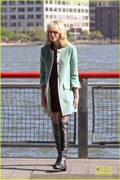 coat,emma stone,mint,green,coast,jacket,shorts,boots