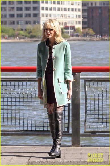 green mint jacket shorts coat emma stone coast boots