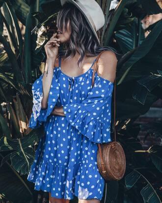 dress hat tumblr blue dress mini dress polka dots off the shoulder off the shoulder dress bag round bag sun hat summer dress