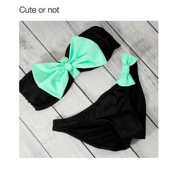 swimwear mint green bikini black mint green bikini teenagers cute bow black bikini