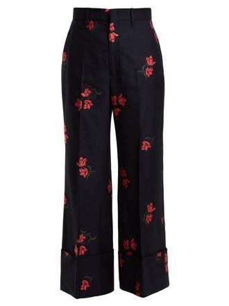 rose cotton wool navy pants
