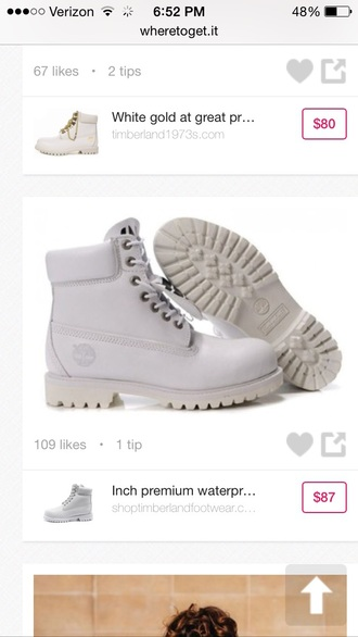 shoes white tims
