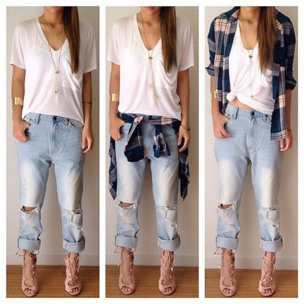 shoes lace up heels jeans ripped jeans capris