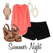 skirt,cute outfits,shoes,bag,jewels,shorts,shirt,blouse,pink,cute,black,wedges,salmon,black shorts,top,date outfit,summer outfits,cute top