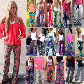pants boho chic bohemian vintage aztec floral stripes blue pink green orange grey tie dye tribal pattern flowers colorful pattern mint print turquoise bandana print chevron mandala paisley bright ethnic hipster summer boho dope womens pants palazzo pants style crop tops top white t-shirt necklace off the shoulder crochet top hippie high waisted trendy tropical palm tree print indian flowy tumblr tumblr girl festival summer outfits coachella gypsy gypsy style gypsy pants red lime sunday loose pants yoga pants yoga boho pants indie boho harem pants