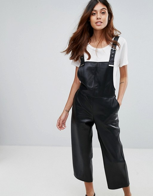 Mango Faux Leather Dungarees at asos.com
