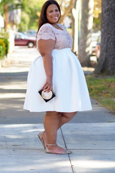 skirt: garner style, blogger, plus size, white skirt, plus size