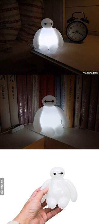 home accessory pretty big hero 6 lamp waaant please!! baymax night  light light cute white light black white home decor white light light up holiday home decor light bulb bay max soo cute disney kawaii kids room room accessoires