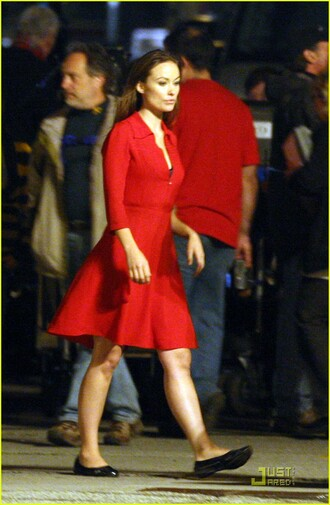 dress red dress in time red olivia wilde justin timberlake zip