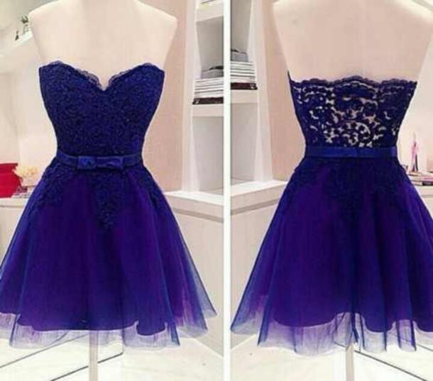 dress strapless lace blue dress blue navy prom beautiful