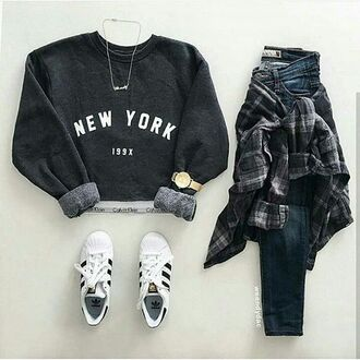 sweater new york city black black sweater adidas jeans black jeans long sleeve jeans superstar adidas superstars adidas shoes sweatshirt black sweatshirt new york sweater new york sweatshirt 199x