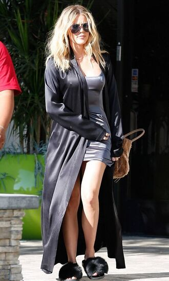 shoes dress mini dress summer dress duster coat khloe kardashian sunglasses kardashians slide shoes