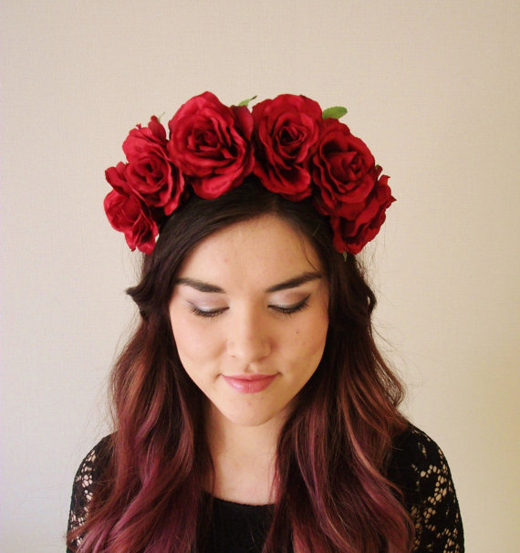Red Roses  floral headband floral crown flower by MissWildFlowers