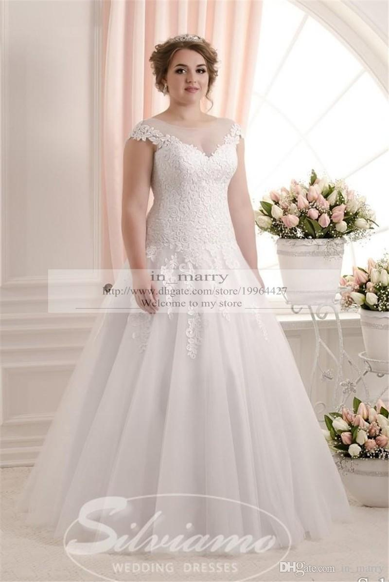 Eleagnt plus size vinatge lace wedding dresses 2016 a line for Plus size illusion wedding dress