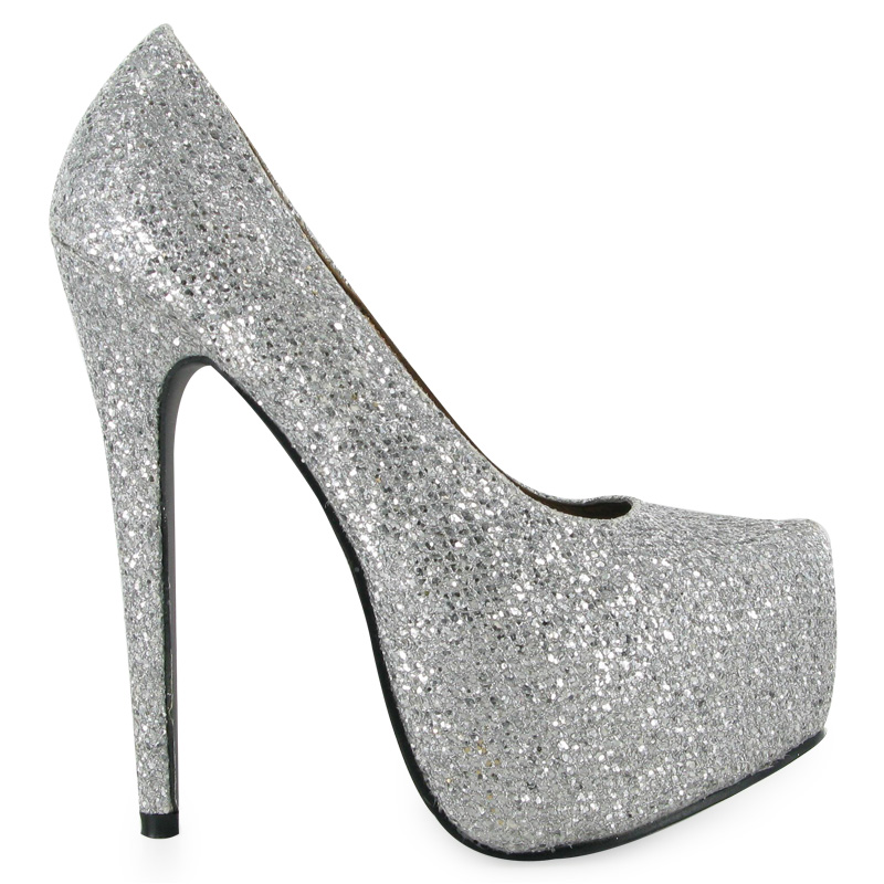 High Heel Silver Glitter Shiny Womens Concealed Platform Stiletto ...