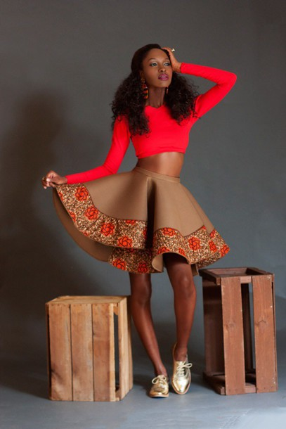 nude, pattern, patterned skirt, volume skirt, knee length ...