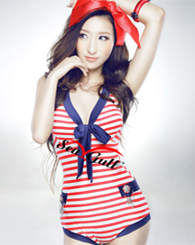 Nautical Marine Stripes One Piece Deep V Bow Knot Bathing Suit Swimsuit SW131 | eBay