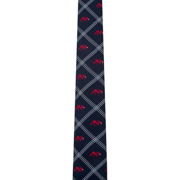 red scarf tie menswear ties navy jacquard bear scarf red
