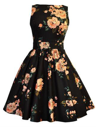 dress floral roses high neckline vintage