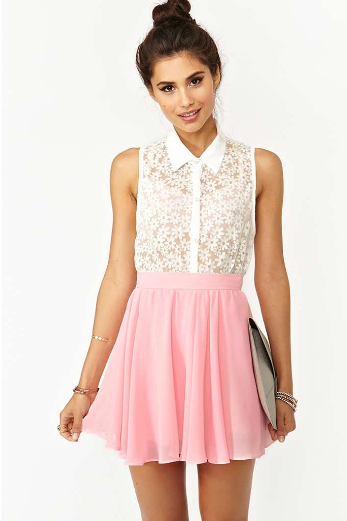 Sandy Skater Skirt - Pink  in  Clothes at Nasty Gal