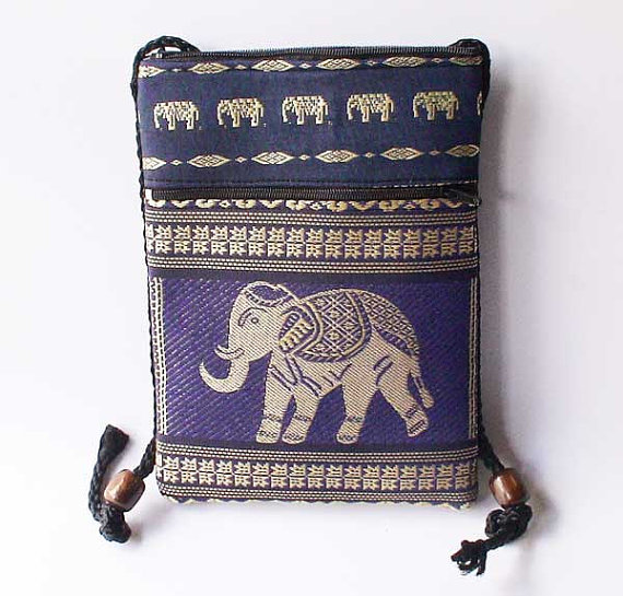 Thai Elephant Blue wallet fabric Purse  embroidered by AsiaSpirit