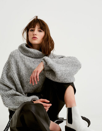 sweater pull and bear oversized oversized sweater oversized turtleneck sweater grey sweater winter sweater sweater weather knit knitwear knitted sweater women ribbed top soft long sleeves style grey
