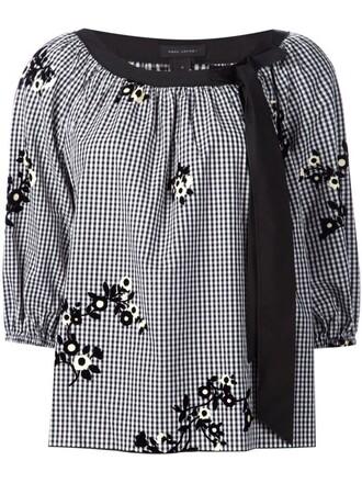 blouse floral gingham black top