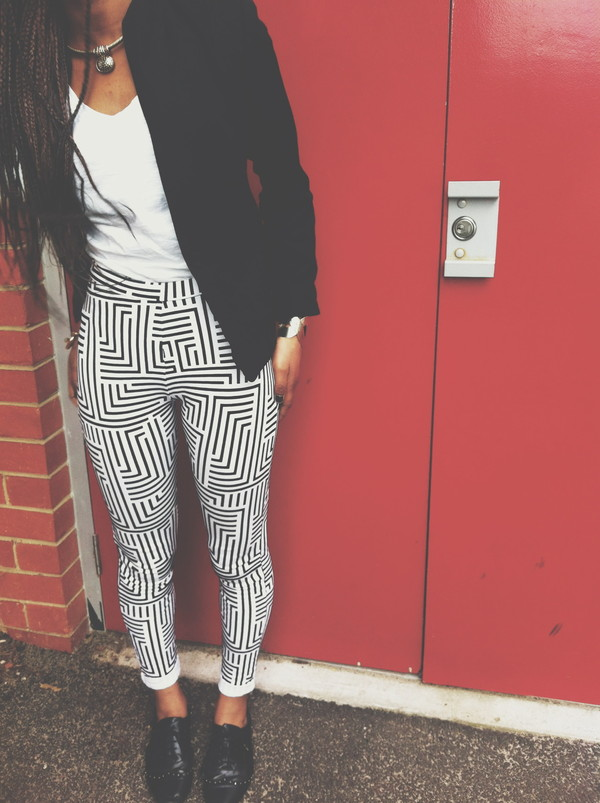 pants pattern black and white pants