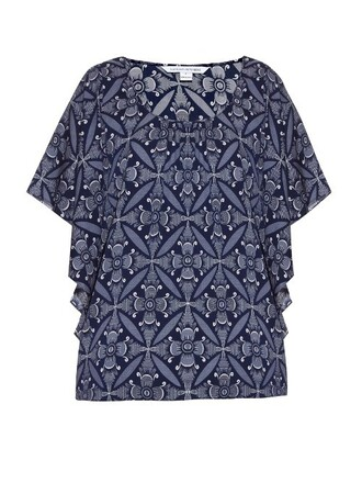 blouse navy print top